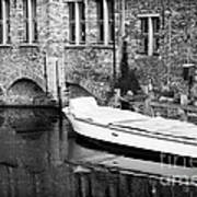Boat Reflection In Bruges Art Print