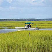 Boat Ride In The Marsh Art Print