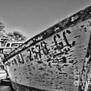Boat - State Of Decay In Black And White Art Print