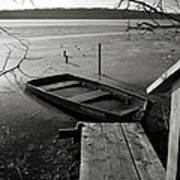 Boat In Ice - Lake Wingra - Madison - Wi Art Print