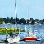 Boat - Two Docked Sailboats Norwalk Ct Art Print