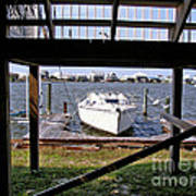 Boat View Under The Stairway Art Print