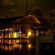 Boathouse Night Glow Art Print by Michael Thomas