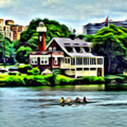 Boathouse Rowers On The Row Art Print