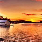 Boathouse Sunset On The Sunshine Coast Art Print