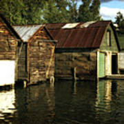 Boathouses On The River Art Print