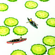 Boating Among Cucumber Slices Miniature Art Art Print by Paul Ge