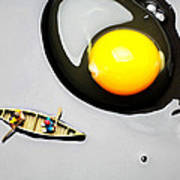 Boating Around Egg Little People On Food Art Print by Paul Ge