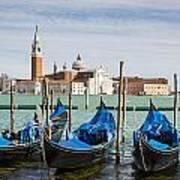 Boats Anchored At Marina Venice, Italy Art Print