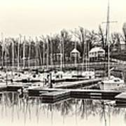 Boats And Cottages In B/w Art Print