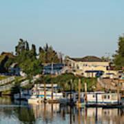 Boats In A River, Walnut Grove Art Print