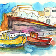 Boats In Ericeira In Portugal Art Print