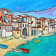 Boats In Front Of Buildings Viii Art Print by Xueling Zou