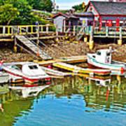 Boats In Halls Harbour-nova Scotia  Art Print