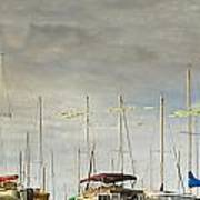 Boats In Harbor Reflection Art Print