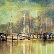 Boats In Harbour Art Print