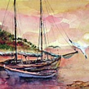 Boats In Sunset  Art Print