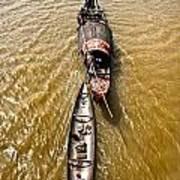 Boats In The Mekong River - Vietnam Art Print