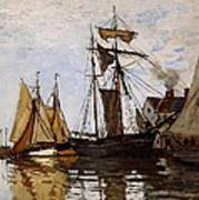Boats In The Port Of Honfleur Art Print by L Brown