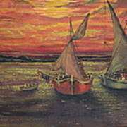 Boats In The Sea Art Print