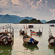 Boats Moored In Sea, Teluk Baru Art Print