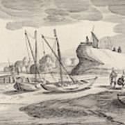 Boats On A River Bank, Jan Van De Velde II Art Print