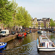 Boats On Canal Tour In Amsterdam Art Print