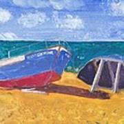 Boats On Cascais Beach Art Print