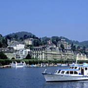 Boats On Lake Geneva Art Print