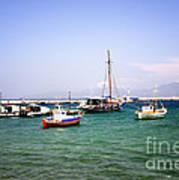 Boats On The Aegean Sea 1 - Mykonos - Greece Art Print