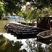 Boats On The Thames River Oxford England Art Print