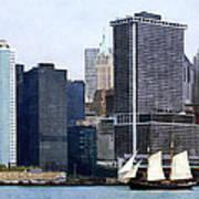 Boats - Schooner Against The Manhattan Skyline Art Print