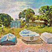 Boats Up On The Beach - Square Art Print