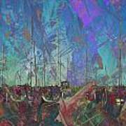 Boats W Painted Abstract Art Print