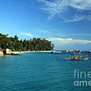 Boats With Beautiful Sea Print by Boon Mee