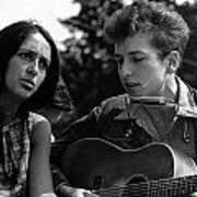 Bob Dylan And Joan Baez Art Print