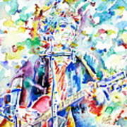 Bob Dylan Playing The Guitar - Watercolor Portrait.1 Art Print