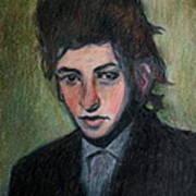 Bob Dylan Portrait In Colored Pencil  Art Print