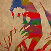 Bob Dylan Watercolor Portrait On Worn Distressed Canvas Art Print