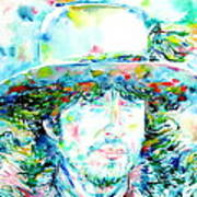 Bob Dylan - Watercolor Portrait.2 Art Print