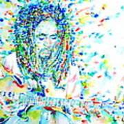 Bob Marley Playing The Guitar - Watercolor Portarit Art Print