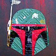 Boba Fett Star Wars Bounty Hunter Helmet Recycled License Plate Art Art Print