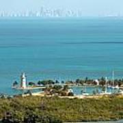 Boca Chita Lighthouse And Miami Skyline Art Print