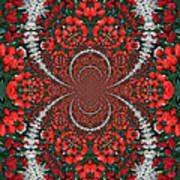 Tulips Kaleidoscope - Red And Green Art Print