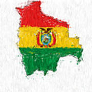 Bolivia Painted Flag Map Art Print