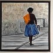 Bolivian Chola In Blue Skirt Art Print by Marcella Haugaard
