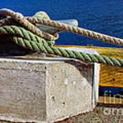 Bollard Closeup - Ropes - Mooring Lines - Wharf Art Print