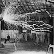 Bolts of electricity discharging in the lab of Nikola Tesla. Art Print