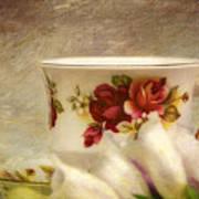 Bone China Teacup And Foxgloves Art Print
