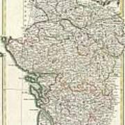Bonne Map Of Poitou Touraine And Anjou France Art Print